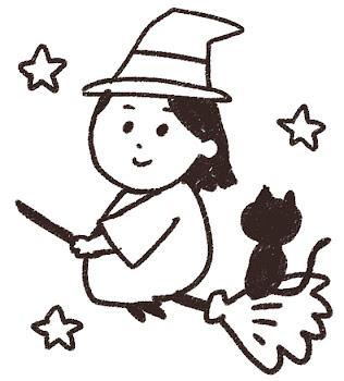 魔女と黒猫のイラスト(ハロウィン)線画