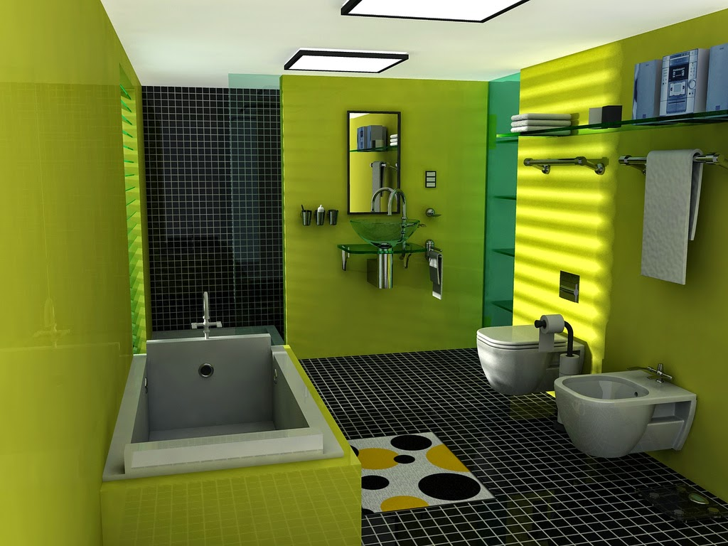 Green Bathroom And Toilet Redesign