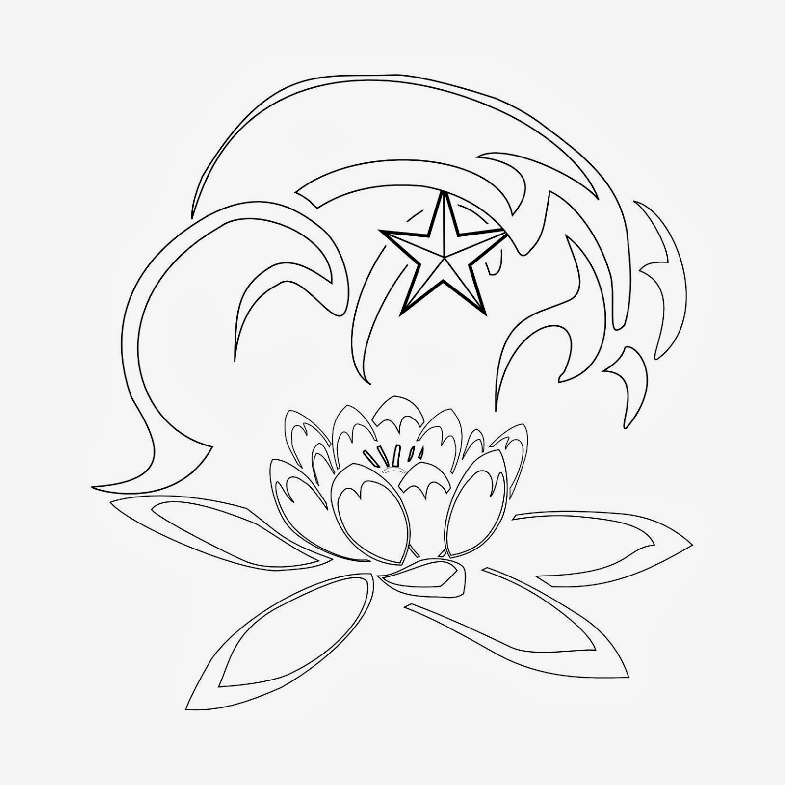 Lotus waves and star tattoo stencil
