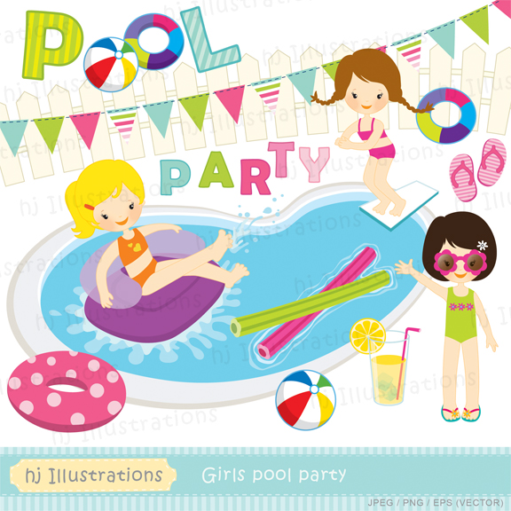 Hj illustrations girls pool party digital clipart matching digital papers for Free clipart swimming pool party