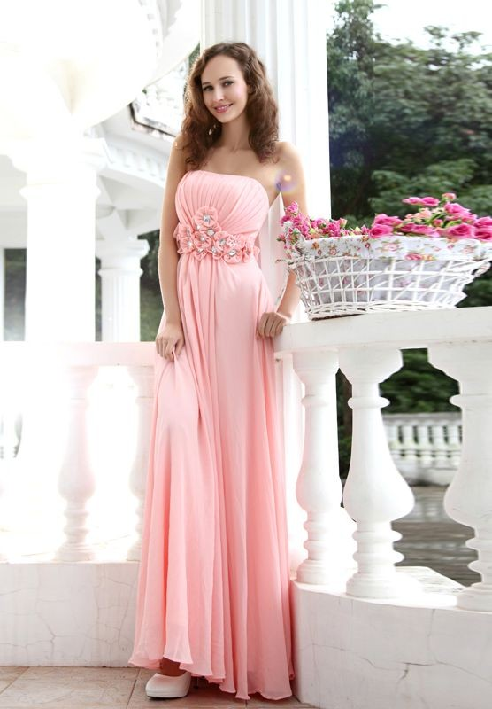 pink long bridesmaid dress