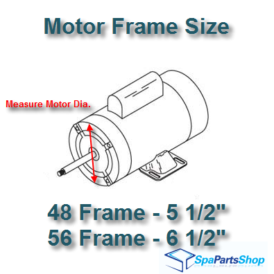 usually the motor specifications label will list the frame size if not you can measure yourself - Motor Frame Sizes