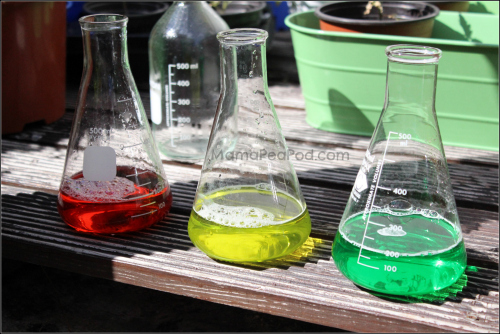 flasks of coloured liquids for science experiment
