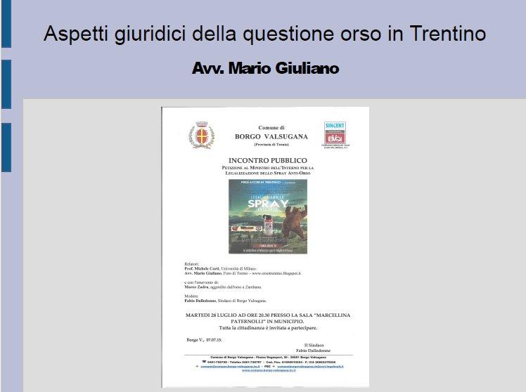 Presentazione dell'avv. Mario Giuliano a Borgo Valsugana (28-07-2015)