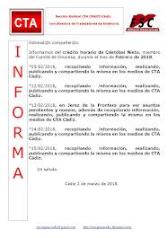 C.T.A. INFORMA CRÉDITO HORARIO CRISTOBAL NIETO, FEBRERO 2018