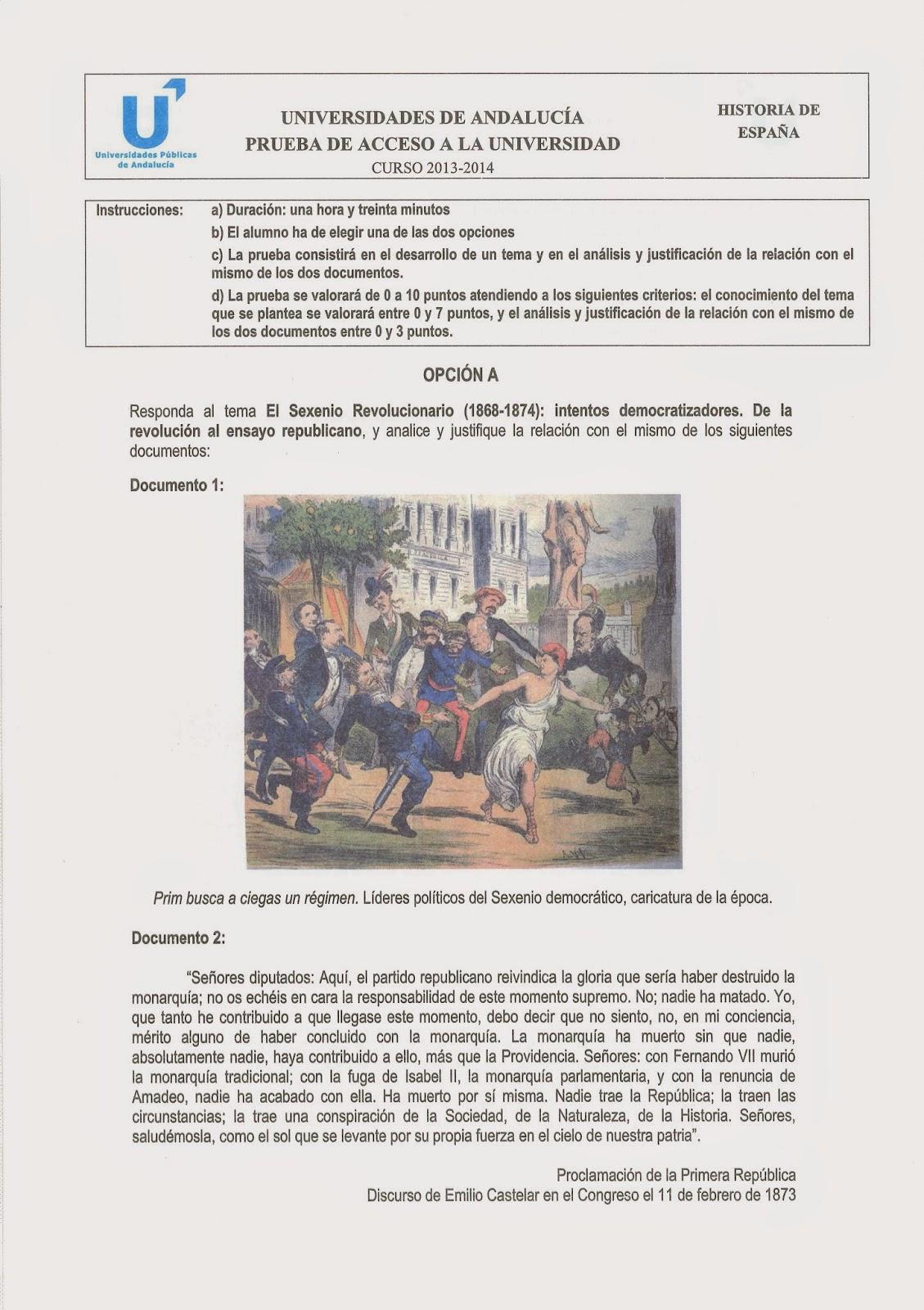 PAU Historia de España junio 2014 Andalucía Opción A Selectividad