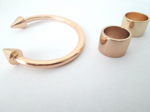 pulseira picos,pulseira dourada,anéis dourados