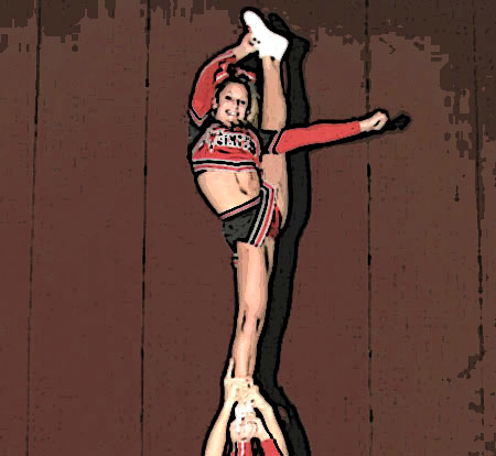 Cheerleading stunts arabesque