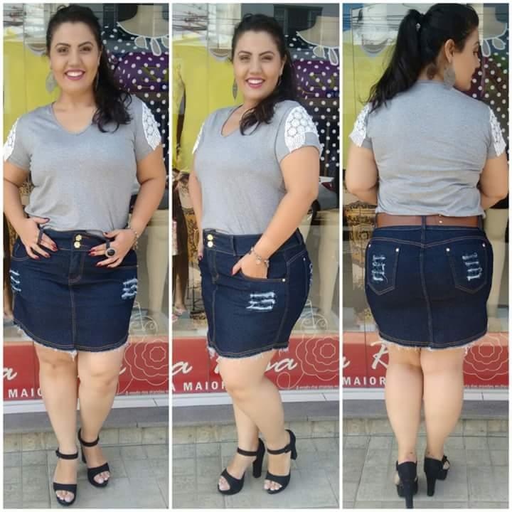 Saia jeans com elastano 88$