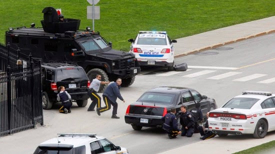During the shooting of the terrorists inside the Canadian Parliament