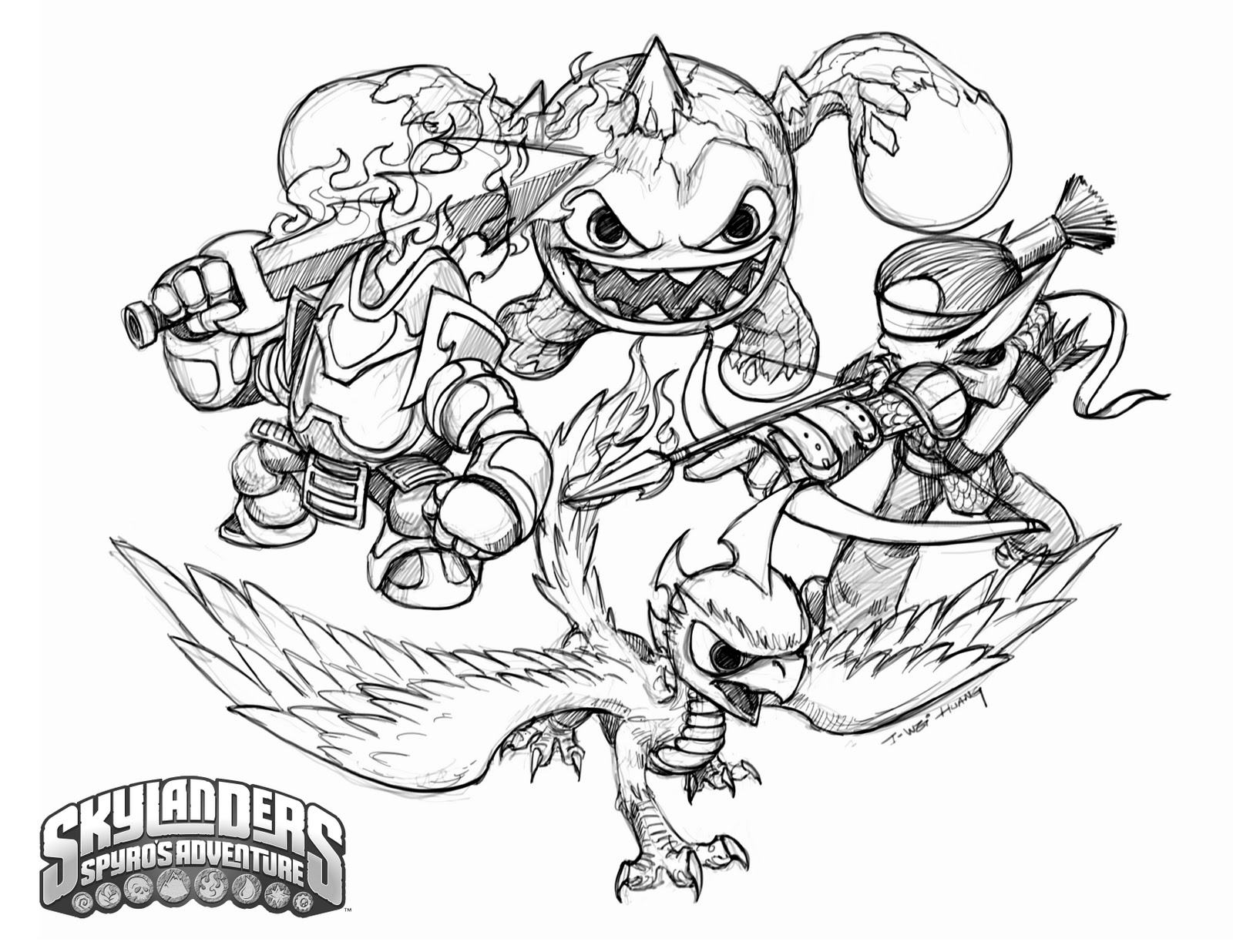 Crabfu Blog Skylanders Speed Drawing Coloring Pages Skylander Colouring Pages