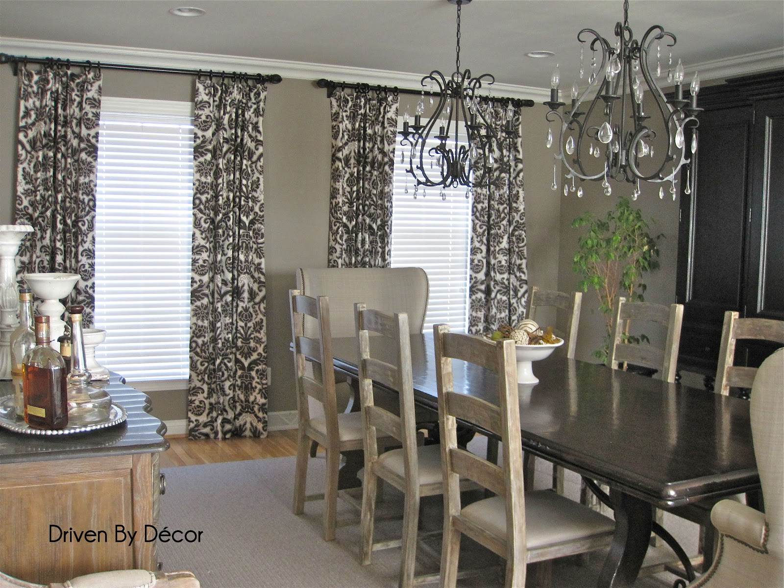 Drapery panels for a gray dining room driven by decor for Dining room drapes