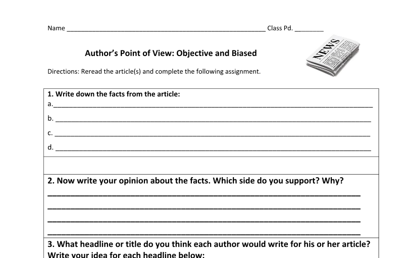 Literacy Station Inspiration Authors Perspective Objective and – Bias Worksheet