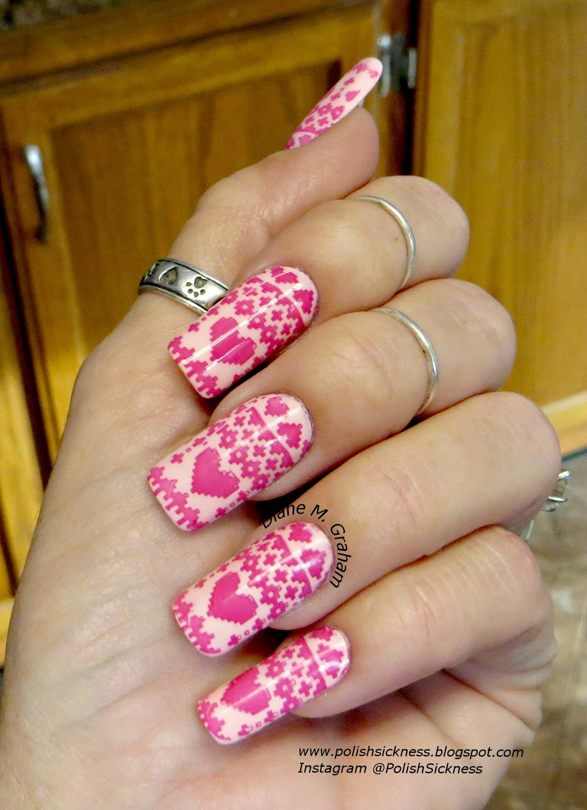 China Glaze Spring in My Step,  Essie Bachelorette Bash, MoYou Festive 04 stamp, Valentine