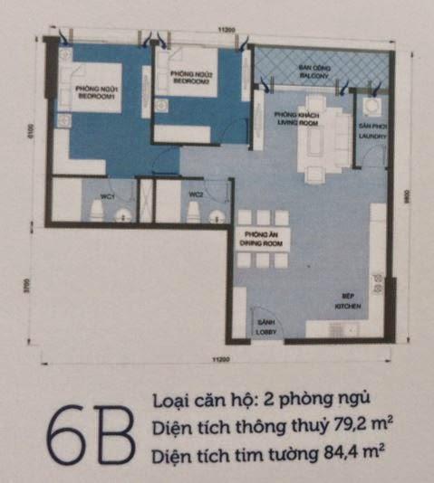 Căn hộ Vinhomes Central Park 6 - căn hộ số 6B - 84.4m2 - 2PN