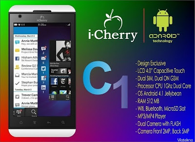i-Cherry C1, HP Android Jelly Bean Murah, Layar 4 Inci, Mirip Blackberry 10