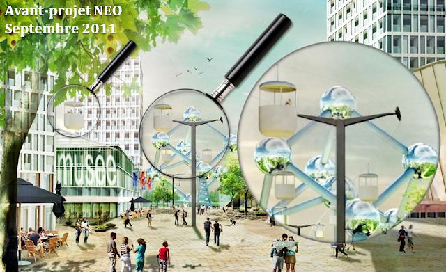 """Plateau du Heysel - Première trace du retour d'un téléphérique dans l'avant-projet """"NEO"""" présenté en septembre 2011 (Bureau d'urbanisme KCAP) - Bruxelles-Bruxellons"""
