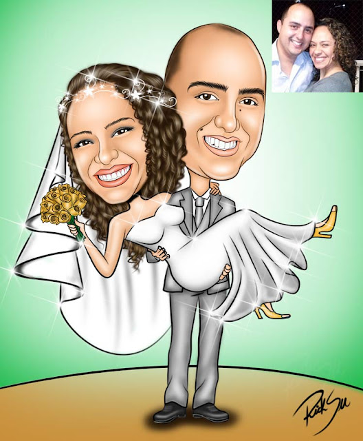 Caricatura de noiva no colo do noivo