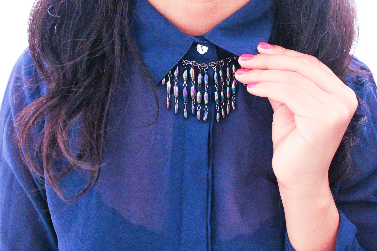 BLUE BLOUSE WITH CHAIN PRIZMAHFASHION