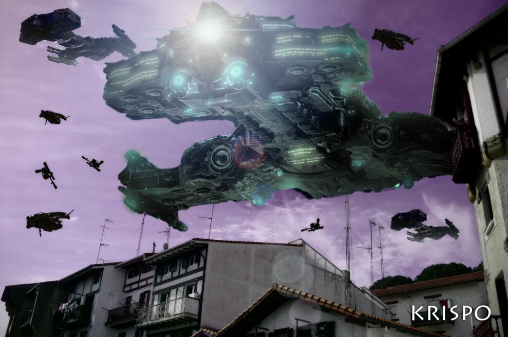 fotomontaje de invasion de naves visto desde abajo