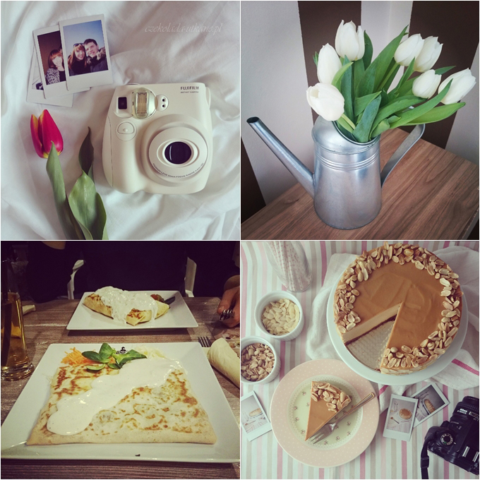 instax mini, instagram, tulipany, manekin, naleśniki, sernik, kajmakowy
