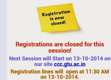 GTU:CCC 4th Phase registration date 13-10-2014