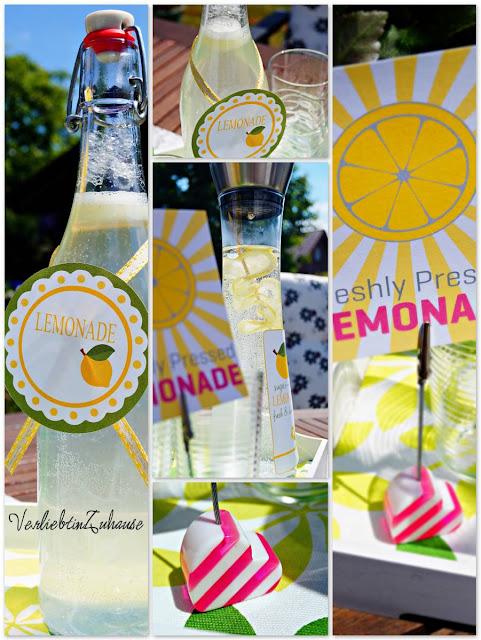 Flasche und Karaffe dekoriert mit druckbaren Etiketten Vorlagen