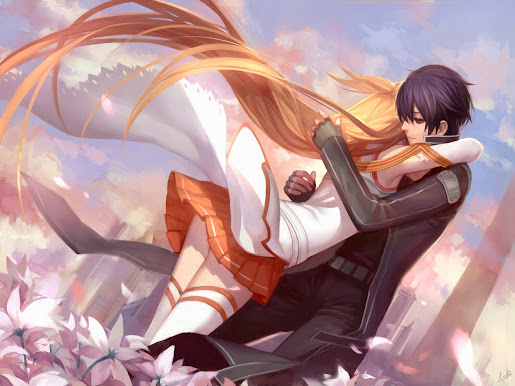 Asuna kirito couple hug sword art online anime hd wallpaper