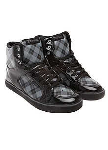 Draven Shoes. Glitter. Hi Top Charcoal. Hi Top Plaid. Teddy Black