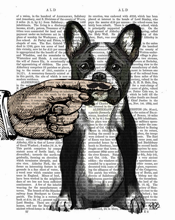 French Bulldog Finger Mustache illustration by Kelly Stevens on Etsy