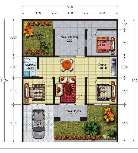 kumpulan denah desain rumah minimalis 1 lantai dan 2