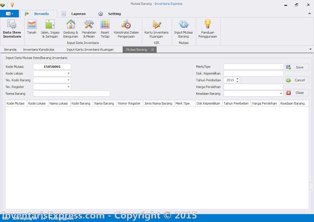 Input Data Mutasi - Aplikasi Invetaris Express