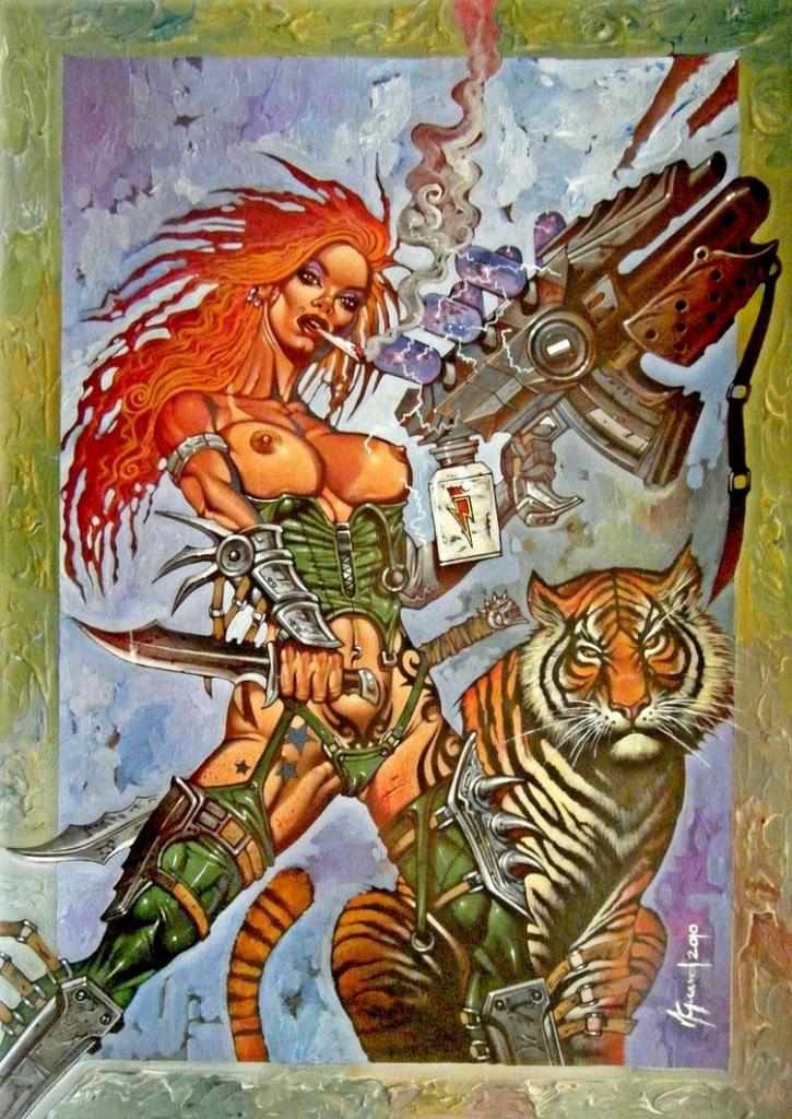 Dessin de Noël Guard représentant une guerrière sexy avec un tigre