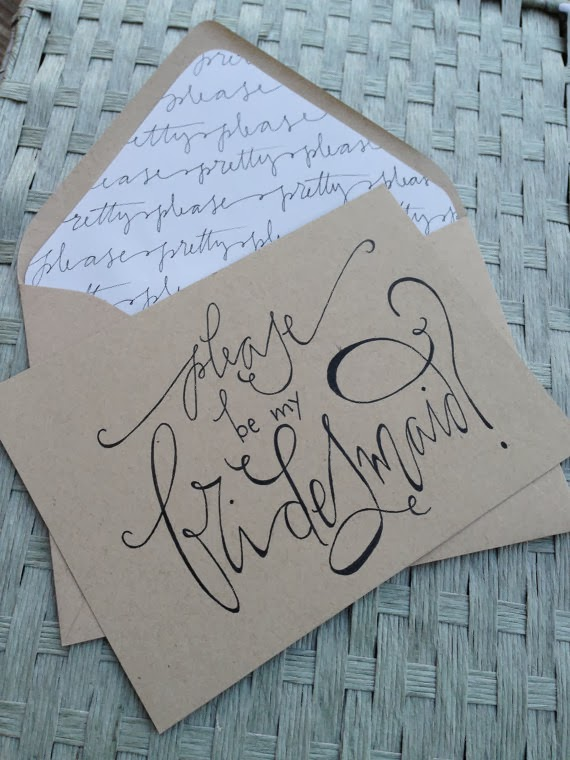 Bridesmaid Card Calligraphy Kraft