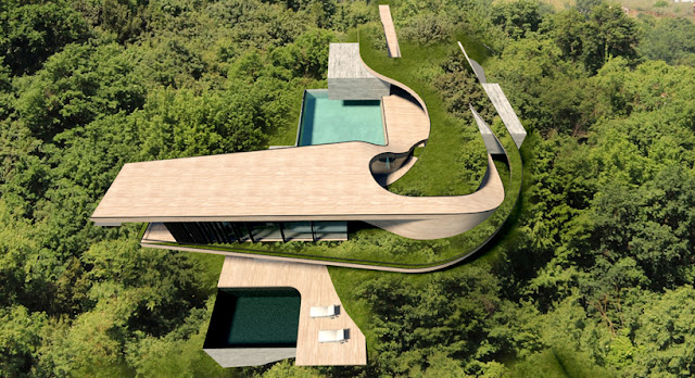 Modern Contemporary House In Bali from the air