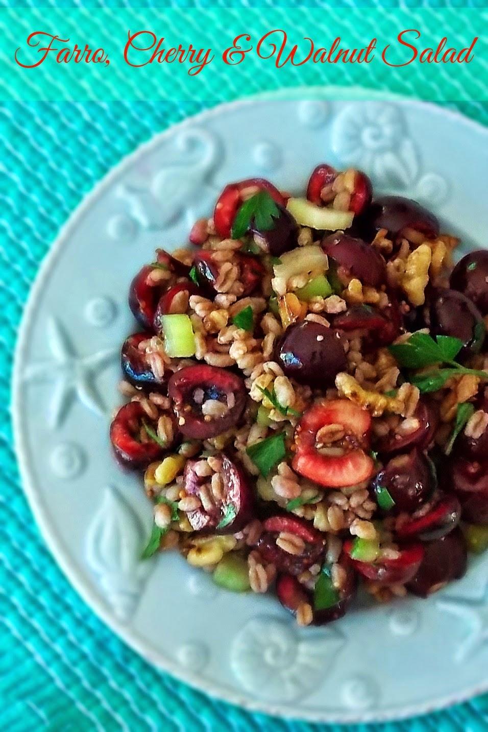 Farro, Cherry, and Walnut Salad #cherries #salad #farro
