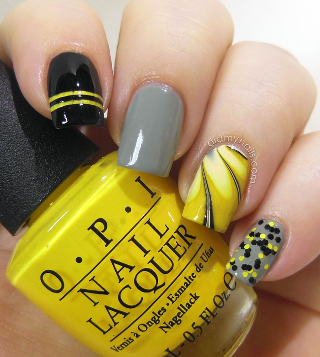 Did my nails wayback nails the bee composite manicure with water marble prinsesfo Gallery