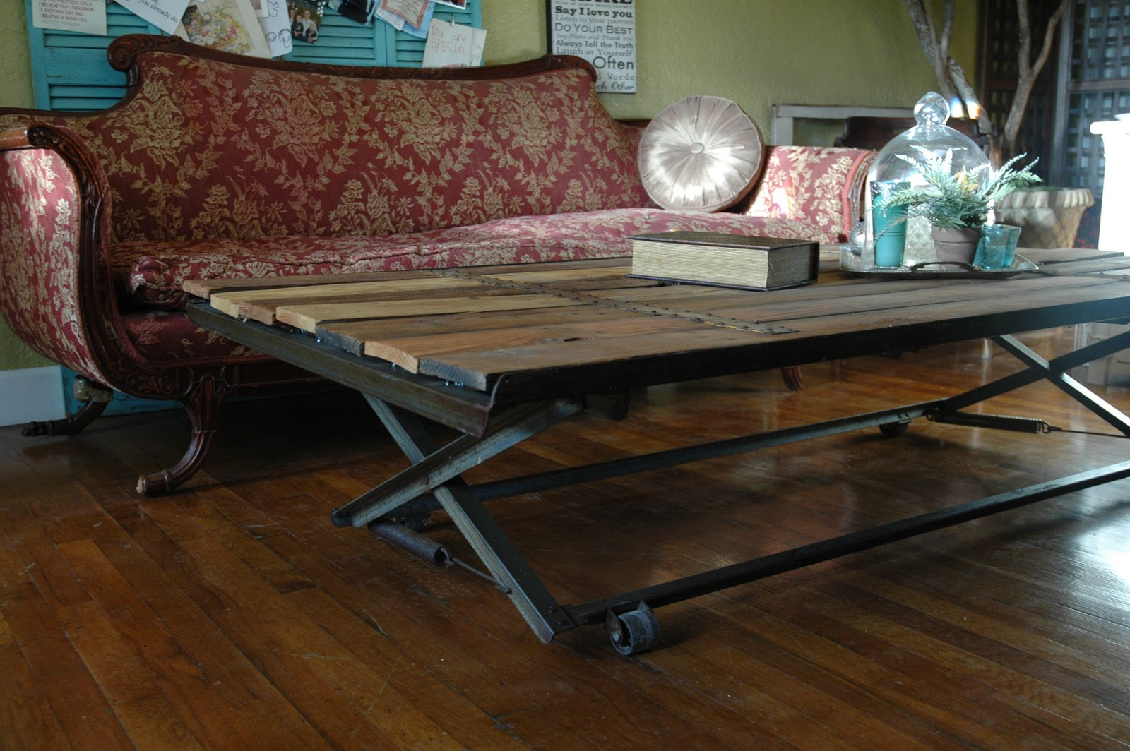 Wonderful Coffee Table Made From Old Trundle Bed Frame