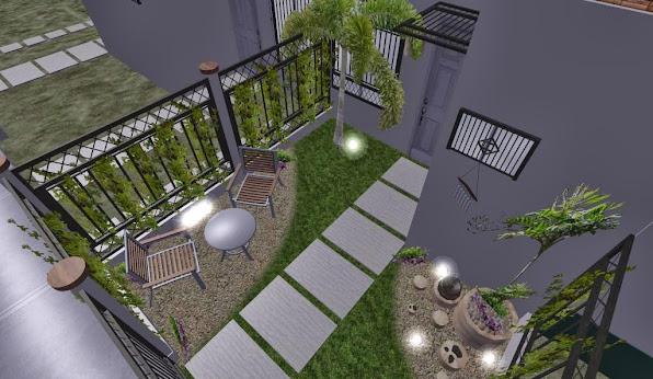 diseño 3D jardin pequeño fachada - iluminacion noche 2