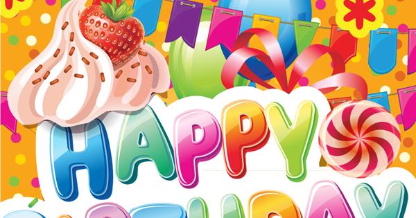 """BANCO DE IMÁGENES Postal de cumpleaños con mensaje""""Happy Birthday"""" y""""Felicidades"""""""