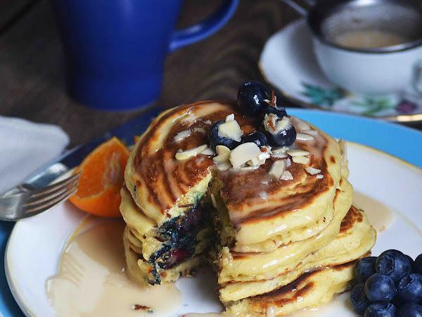 Blueberry Orange and Almond Pancakes with Orange Maple Glaze ~Sundays with Joy~