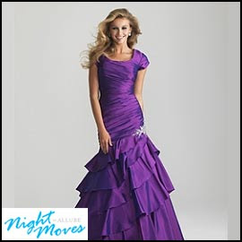 Purple Modest Prom Dress