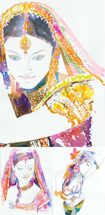 Watercolor Fashion Illustration by Cate Parr