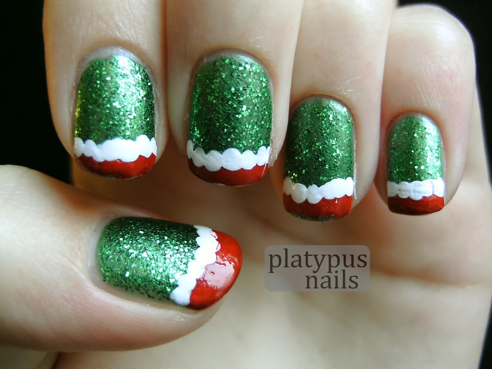 loonyplatypus: [nails] Festive Mani #4 - Christmas Tips
