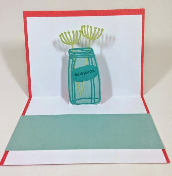 Close To My Heart Artfully Sent Cricut cartridge Thank you pop-up card inside