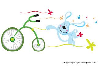conejo en bicicleta