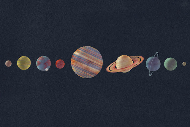 mikayla butchart, solar system, planets, space, astronomy, painting, illustration, watercolor