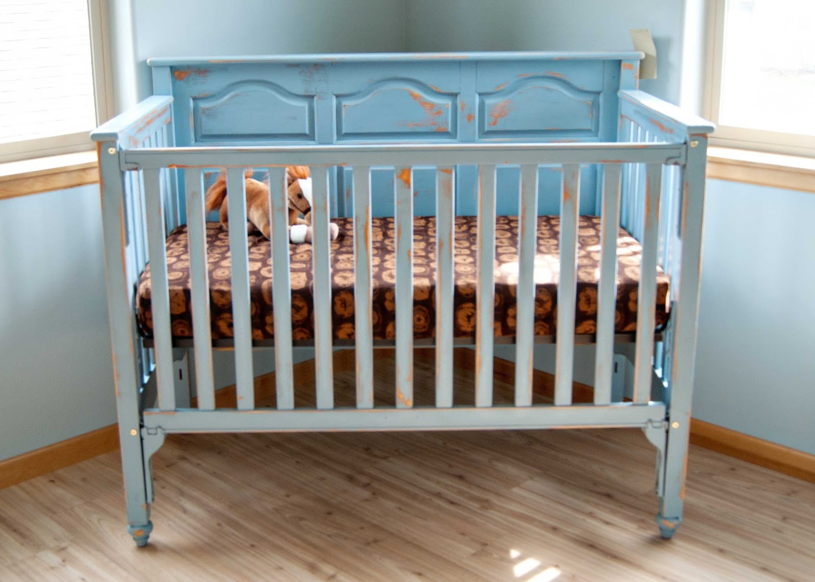 Chalk Painted Crib In Blue