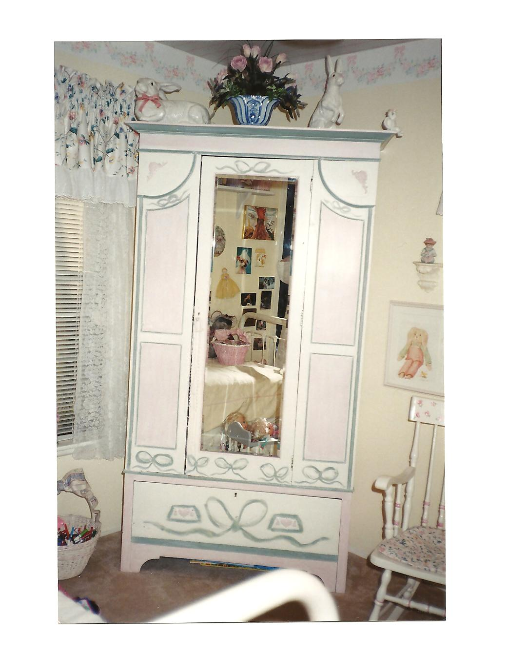 HAND PAINTED CASTLE MURALS U0026 LITTLE GIRL ARMOIRE