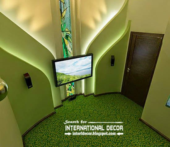 Led Wall Tv Pics : led wall lights, plasterboard wall, tv wall, green flooring